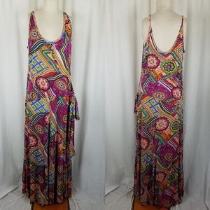 The Pyramid Collection Faux Wrap Psychedelic Dress